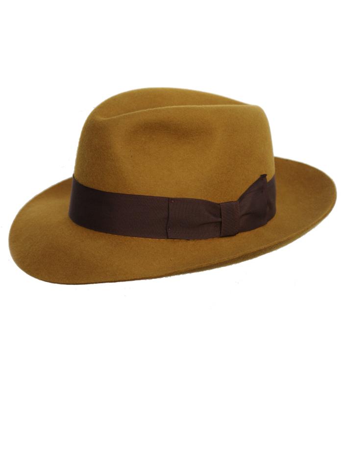 8a4c7e28fc4280 Classic 'snap brim' Mustard Fedora by Denton Hats